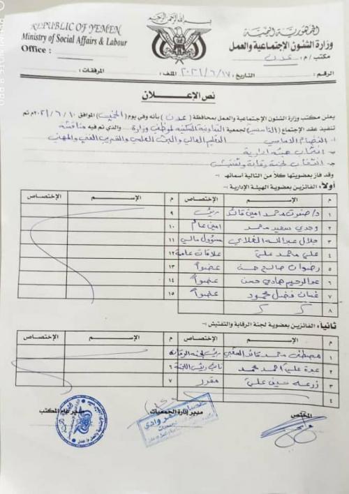العاصمة عدن..  موظفو وزارة التعليم العالي والبحث العلمي يؤسسون جمعيتهم السكنية